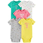 Carter's Baby Girls 5 Pack Bodysuit Set, Food, Newborn