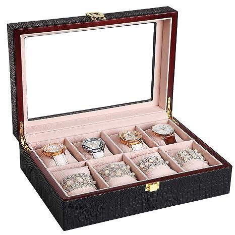 SONGMICS Caja joyero Estuche para Relojes Organizador para Joyas con 8 compartimientos Negro JWB08B
