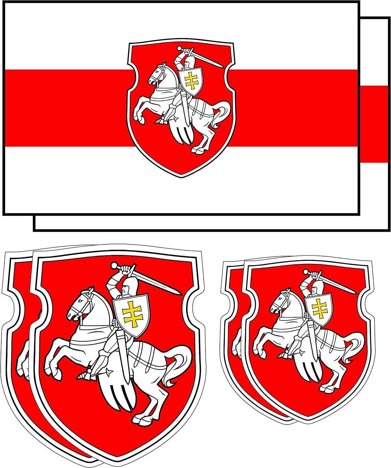 Belarus Pagonya Flag Vinyl Sticker Set - Belarus Pagonya Flag 1991 Car Bumper Sticker - White Knight Laptop Computer Stickers - White Red White Flag Decal Sticker