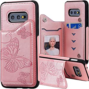 Auker Samsung Galaxy S10E Wallet Case for Women with Card Holder,Girly Embossed Butterfly Slim Leather Pocket Wallet Case Folio Flip Magnetic Closure Kickstand Credit Card Slots Feature Purse Cover