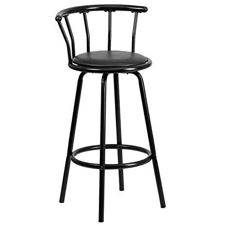 Astonishing Flash Furniture Crown Back Black Metal Barstool With Black Vinyl Swivel Seat Gmtry Best Dining Table And Chair Ideas Images Gmtryco