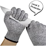 Cut Resistant Gloves, 1 Pair of Safety Kitchen Cuts Gloves for Oyster Shucking, Fish Fillet Processing, Mandolin Slicing, Meat Cutting and Wood Carving,Food Grade Level 5 Protection (Medium)