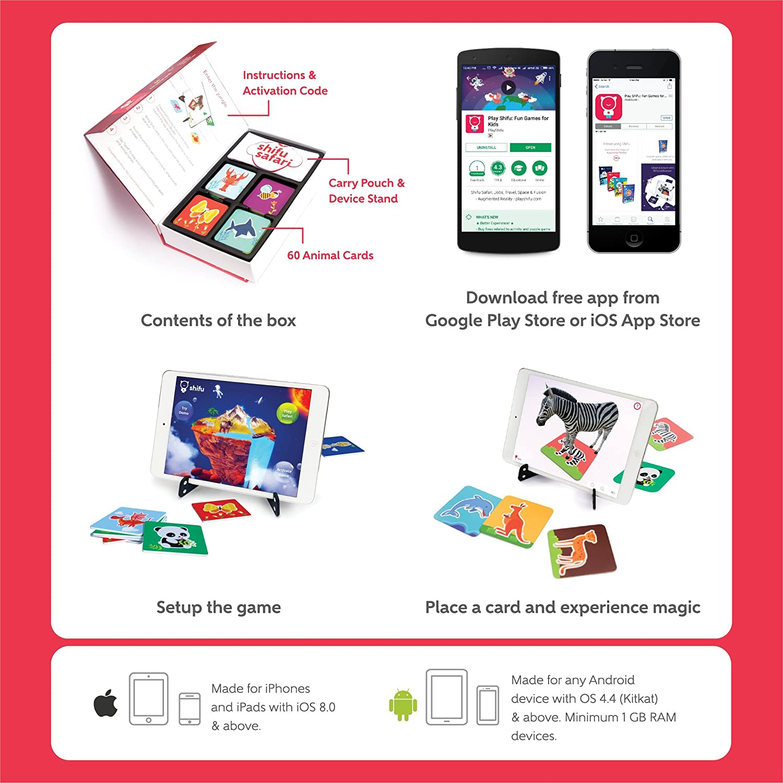 amazon com shifu safari 60 animal cards 4d educational game for