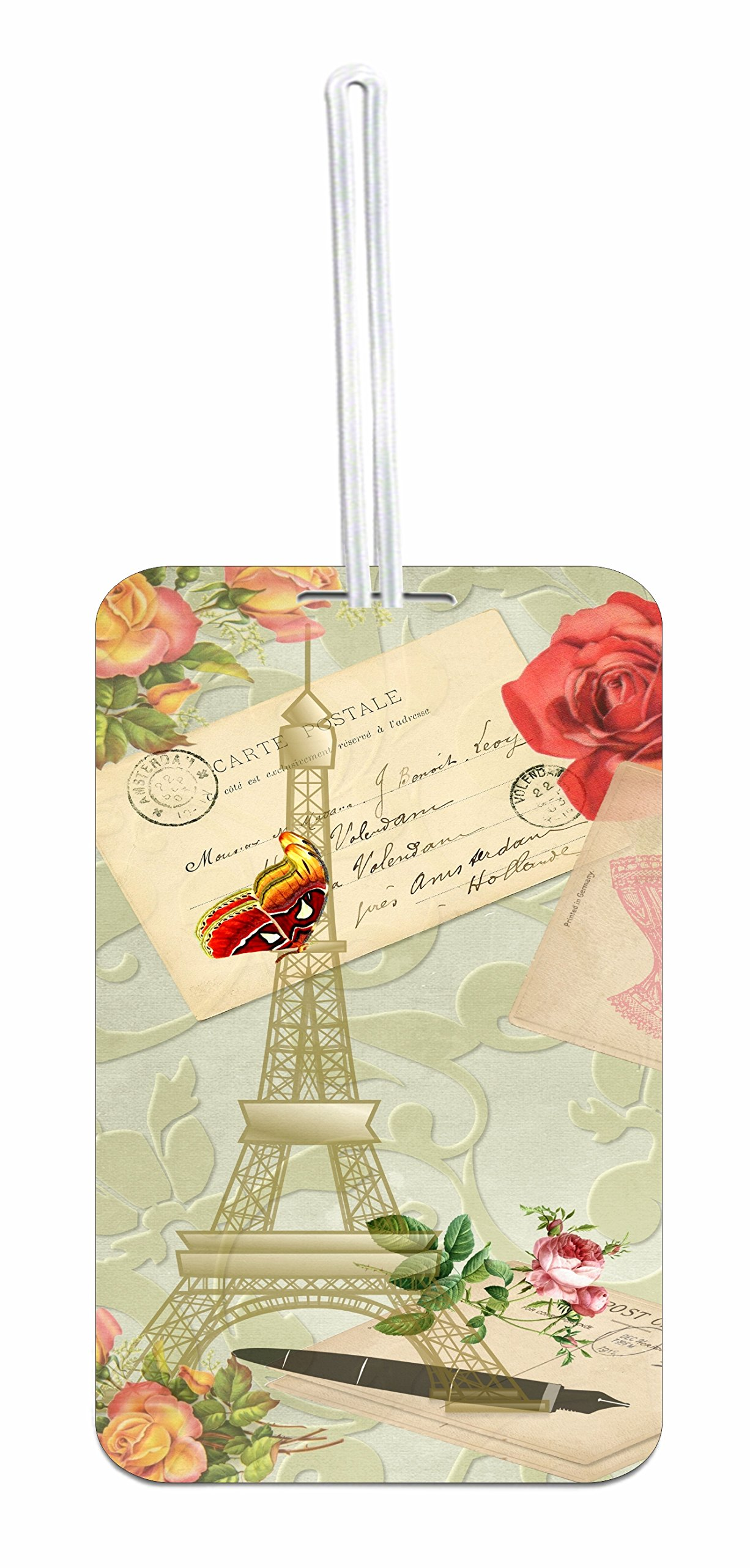 Vintage Style Paris School Bag/Backpack ID Tag with Custom Back