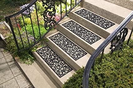 Collections Etc Butterfly Scroll Rubber Stair Treads   Set Of 4, Black