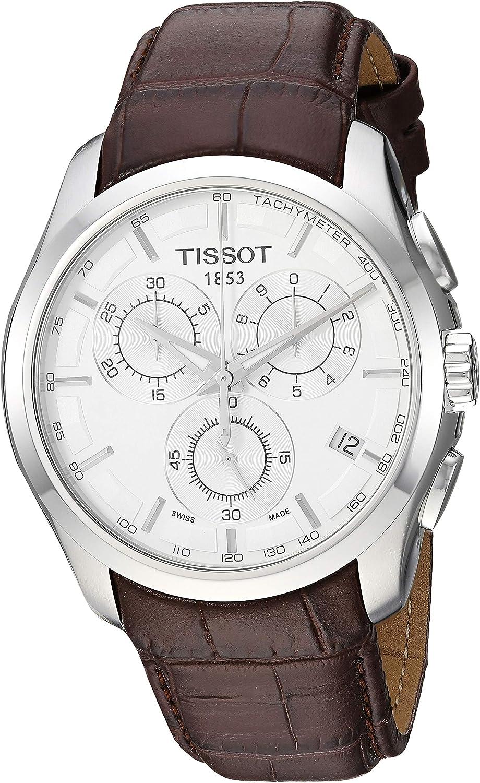 Tissot T0356171603100 - Reloj analógico de caballero de cuarzo con correa de piel marrón