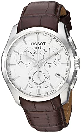 0046f7587bdb Tissot Men s T0356171603100 Couturier Silver Stainless Steel Chronograph  Watch With Brown Leather Band