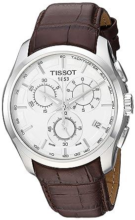 Tissot T0356171603100 - Reloj analógico de caballero de cuarzo con correa de piel marrón: Tissot: Amazon.es: Relojes