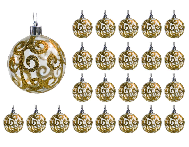 Festive Season 24pk 60mm Transparent Swirl Christmas Tree Ball Ornaments Gold
