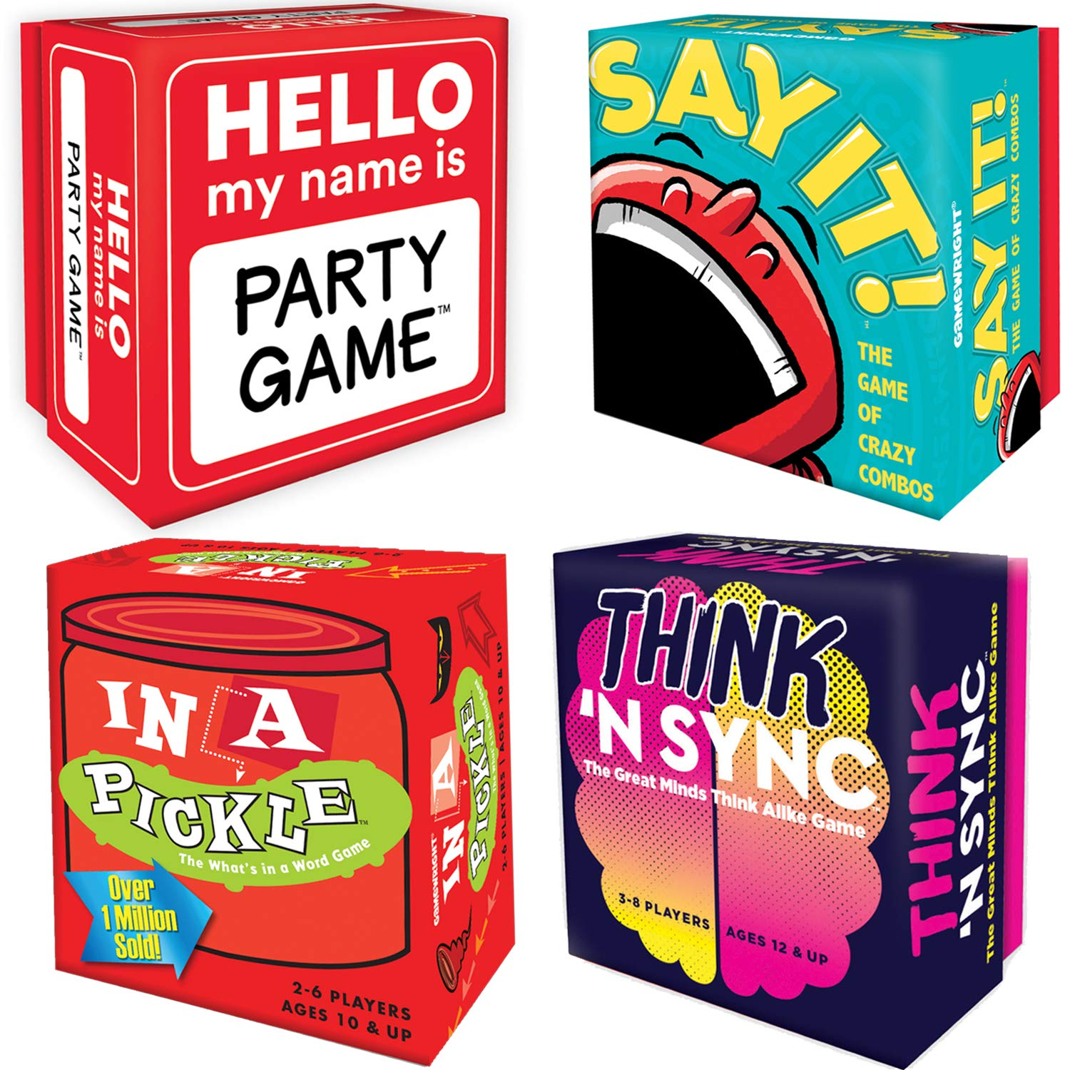 Port-A-Party Portable Party Games Set: In A Pickle, Say It, PDQ, Think 'N Sync Games with Myriads Drawstring Bag