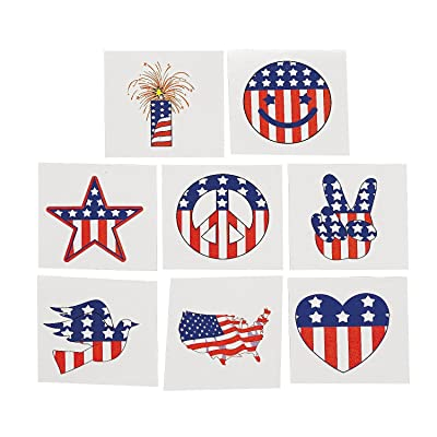 Fun Express Temporary Patriotic Tattoos Stickers - 72 Pieces: Beauty