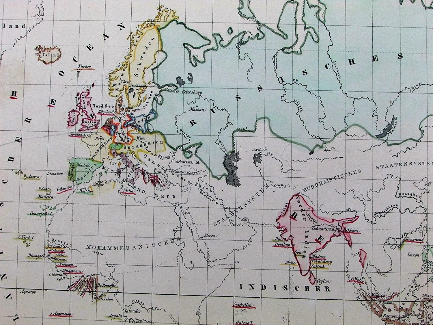 Amazon.com: Christianity world spread extent 1852 Flemming old antique color map: Entertainment Collectibles