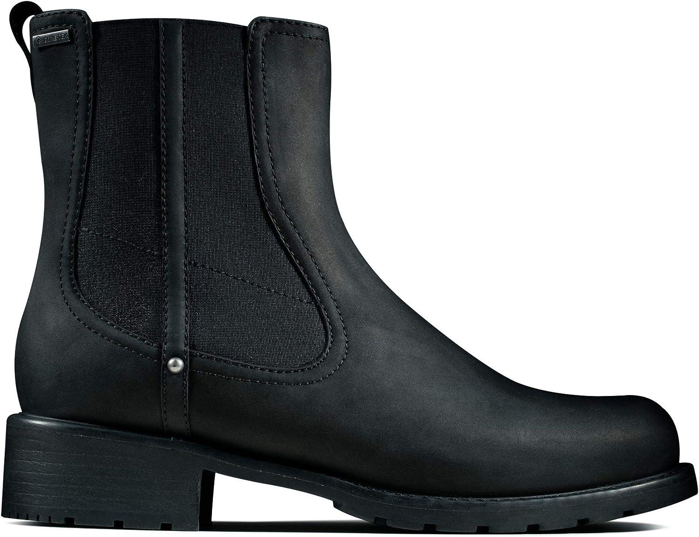 Clarks Orinoco On GTX Biker Boots voor dames Schwarz (Black Leather Black Leather)