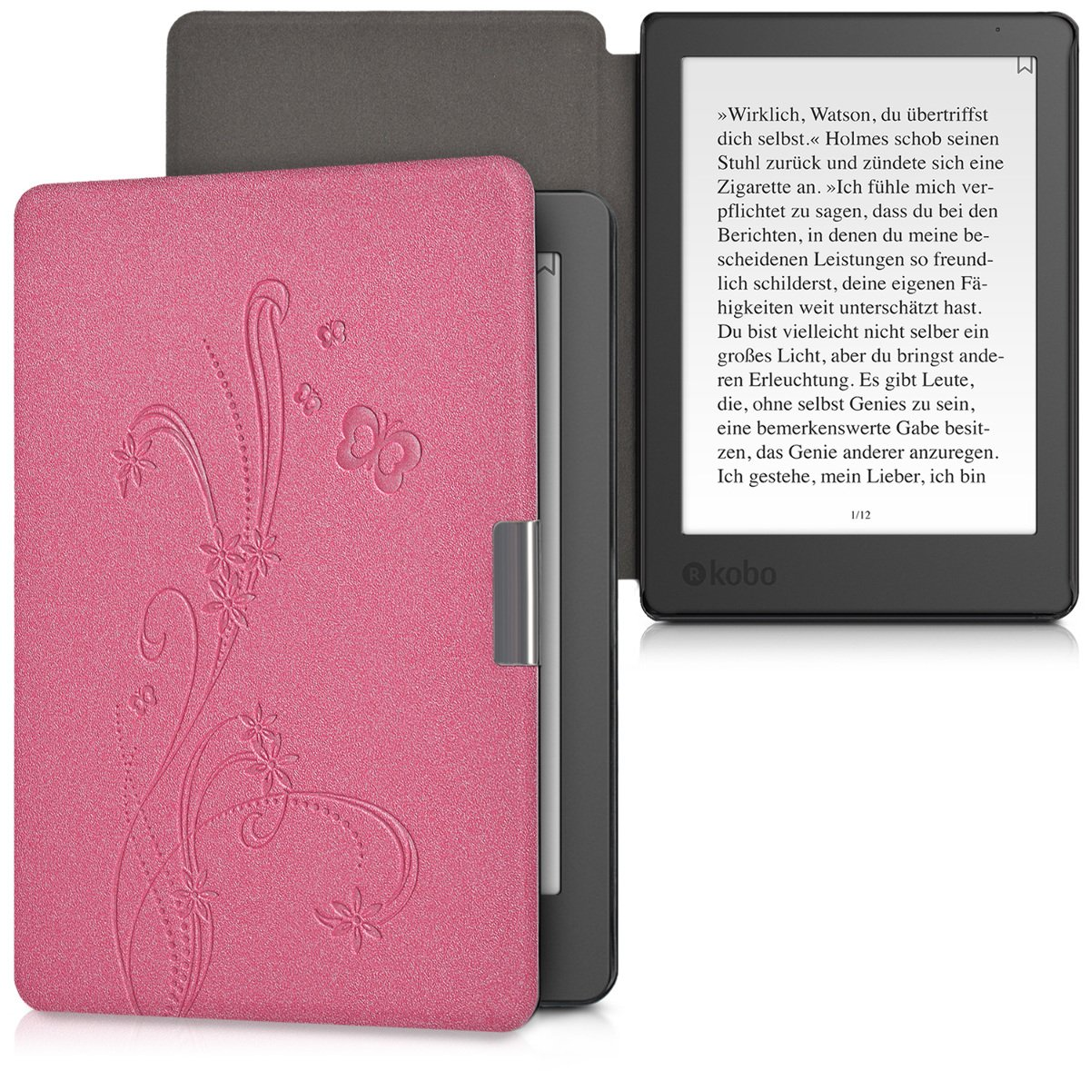 Dark Blue kwmobile Case for Kobo Aura Edition 2 Book Style PU Leather Protective e-Reader Cover Folio Case