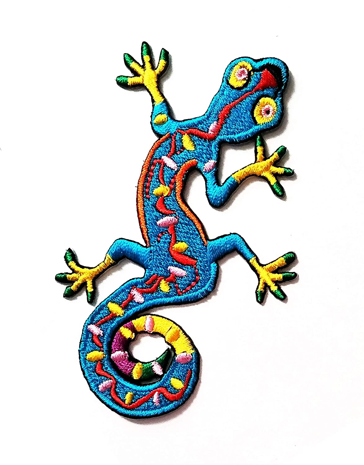 Nipitshop Patches Arts Design Blue Chameleon Lizard Animal Cartoon Kids Patch Embroidered Iron On Patch for Clothes Backpacks T-Shirt Jeans Skirt Vests Scarf Hat Bag