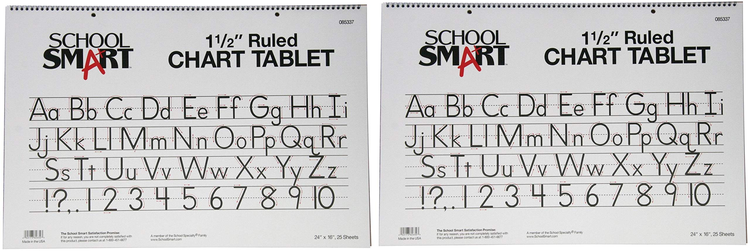 School Smart Chart Tablet, 24 x 16 Inches, 1-1/2 Inch Skip Line, 25 Sheets (2-(Pack))