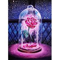 Fipart 5D DIY Peinture Diamant Point De Croix Kit D'artisanat ,Salon Stickers Muraux Décor à La Maison(12X20inch/30X50CM) Rose
