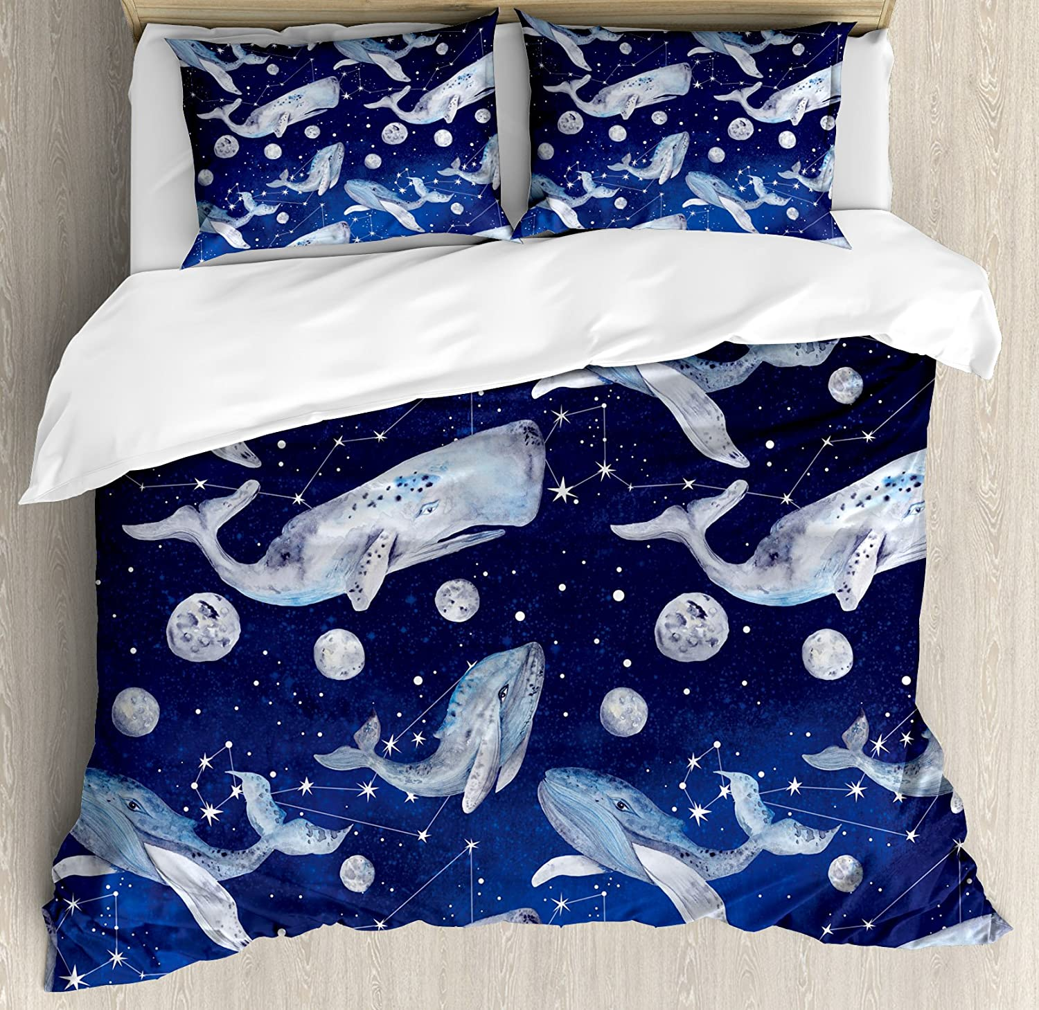 Whale布団カバーセットby Ambesonne、Fishes and Planets Hovering amongst stars in outer space cosmos図、装飾寝具セットwithピロー、ネイビーパープルグレー キング nev_33547_king B075P22JZ3 キング|マルチ1 マルチ1 キング