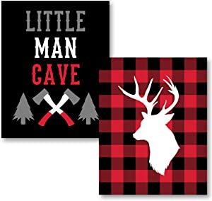 Gango Home Decor Vertical Deer Lumberjack, & Little Man Cave Lumberjack by Tamara Robinson (Printed on Paper); Two 11x14in Unframed Paper Posters