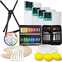 MEEDEN 53-Piece Acrylic Painting Set - Aluminum Table Easel, 24 Acrylic Paints, Stretched Canvas, Paint Brushes…