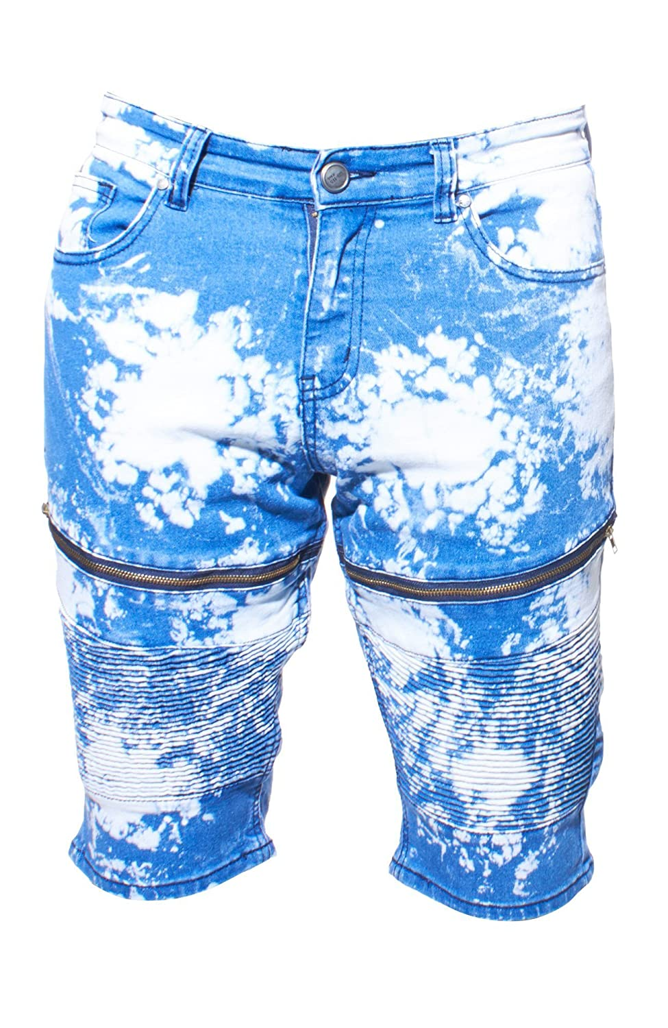 GS-115 Men's Distressed Patterned Stretch Denim Multi Pocket Jean Knee Shorts