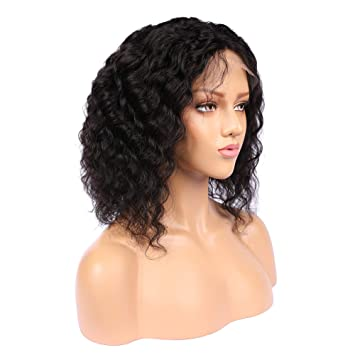 13*6 Lace Front Human Hair Wigs Pre Plucked With Baby Hair 130% Density Curly Brazilian Remy Hair Short Bob Wig 10-16 Eva Hair 100% Original Hair Extensions & Wigs