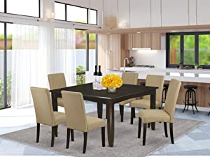 """7Pc Square 36/54"""" Kitchen Table With 18 In Leaf And 6 Parson Chair With Cappuccino Finish Leg And Linen Fabric- Brown Color"""
