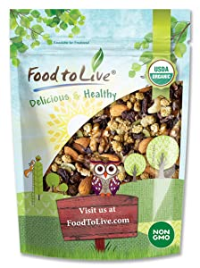 Organic Snack Wise Trail Mix, 2 Pounds — Raw and Non-GMO Mix Contains Cacao Nibs, Raisins, Almonds, Cashews, Walnuts, Mulberries, Pumpkin Seeds. Vegan Superfood, Kosher, No Added Sugar, Bulk
