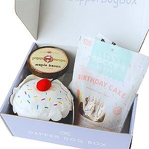 The Dapper Dog Box Dog Birthday Gift Box | Puppy Birthday Bandana, Bday Cake Treats, Squeaky Toys