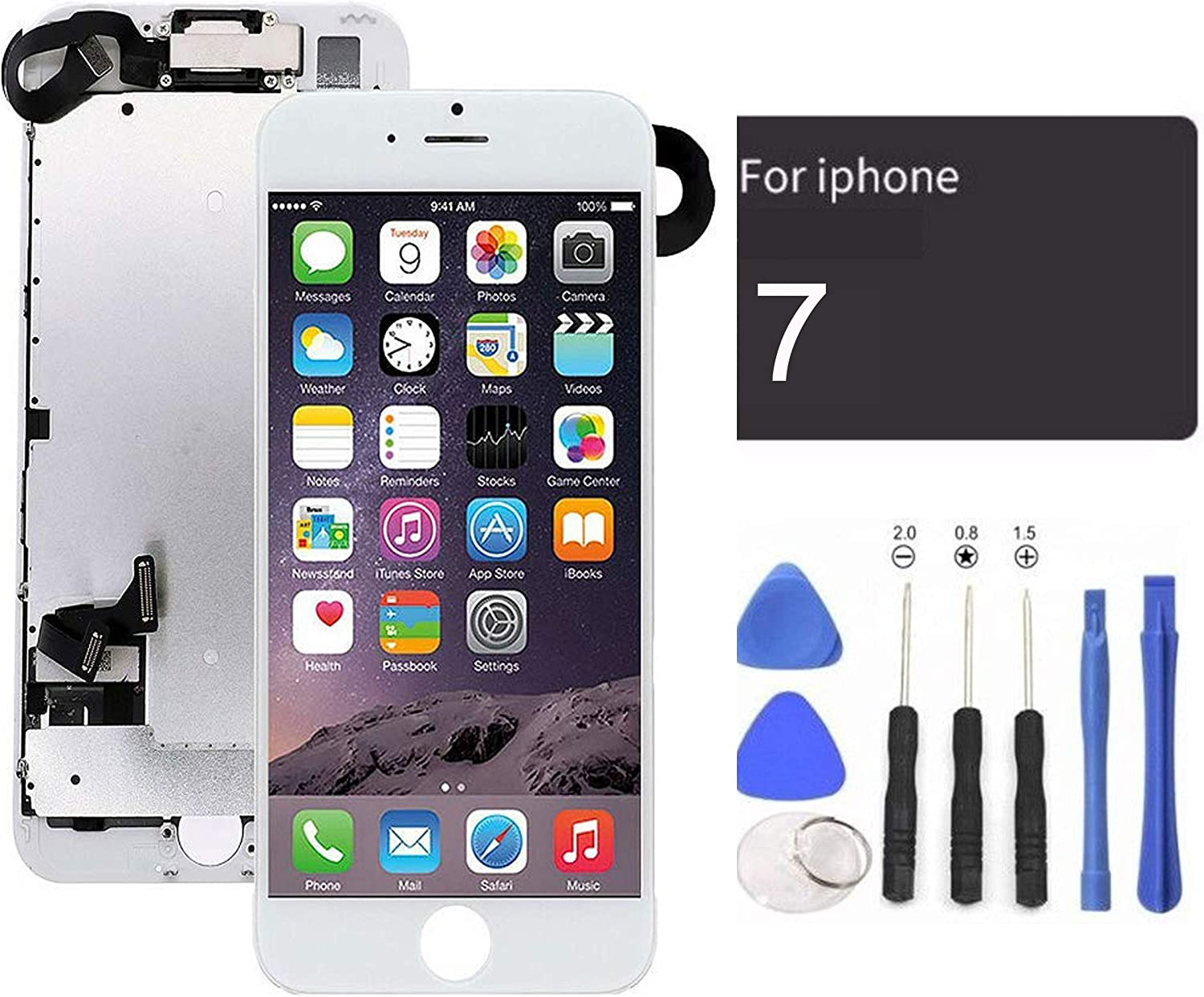 passionTR White LCD Screen Replacement for iPhone 7 Plus 5.5 Inch with Camera Ear Speaker Proximity Sensor Full Complete Assembly Digitizer Display with Repair Tool kit