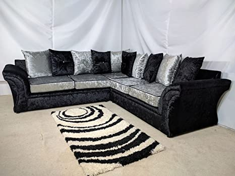 Stupendous Cheap Online Furniture Vagus Corner Sofa In Crushed Velvet Black Uk Express Delivery 1 Year Warranty 6 Black Silver Spiritservingveterans Wood Chair Design Ideas Spiritservingveteransorg