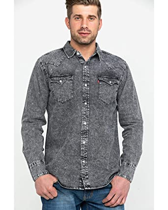 88599647873 Levi s Men s Denim Hunk Snap Long Sleeve Western Shirt Light Grey Small