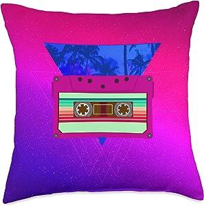 80's Cassette Tape Retrowave Aesthetic Throw Pillow, 18x18, Multicolor
