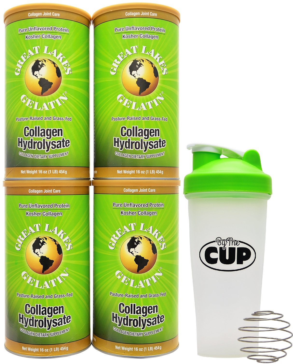 Great Lakes Gelatin, 4 Collagen Hydrolysate 16-Ounce Cans and By The Cup Shaker Combo by Great Lakes Gelatin