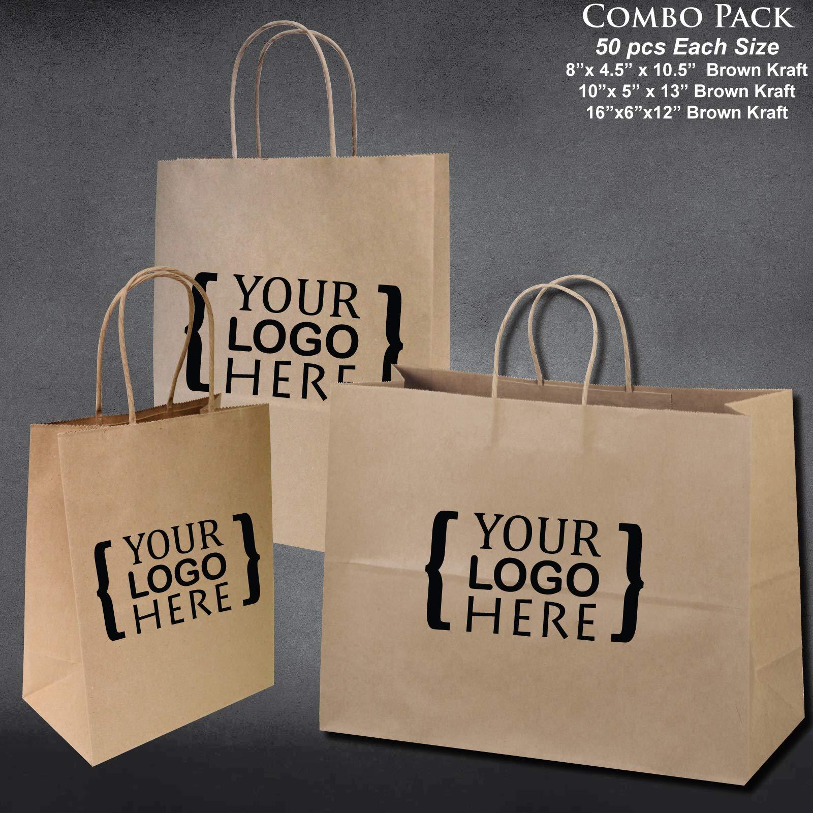 8''x4.75''x10''-10''x5''x13''-16''x6''x12'' - 50 Pcs Each - Custom Printed Bagsource Brown Kraft Paper Bags 95% Post Consumer Materials & FSC Certified … (Custom Printed)