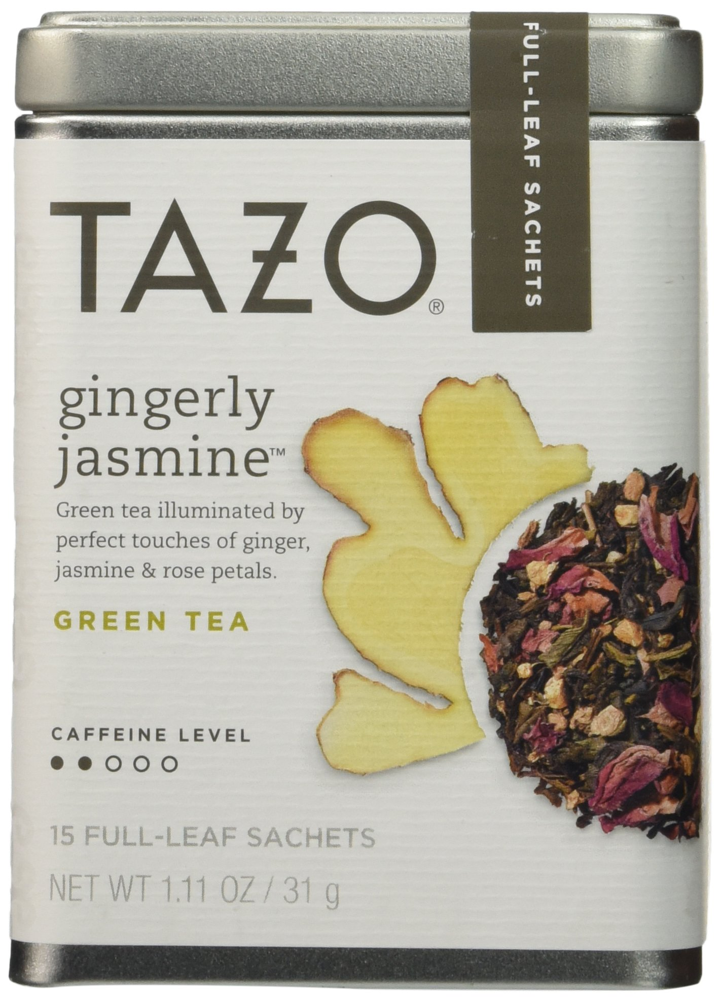 Tazo Gingerly Jasmine Green Tea With Caffeine, 1 Pack with 15 Full-Leaf Sachets