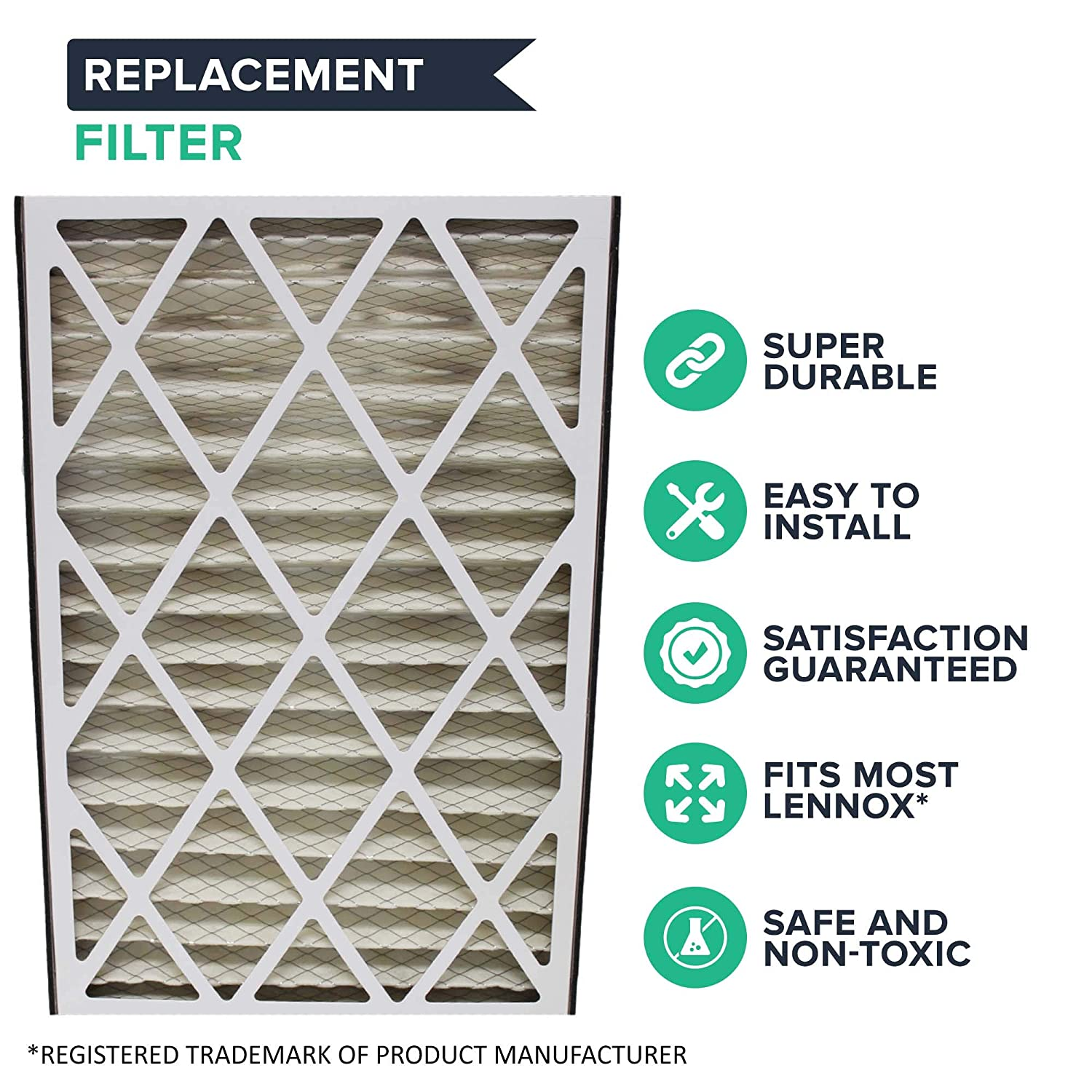 Think Crucial 2 Replacements for Lennox 16x25x3 MERV 8 Furnace Air Filter Fits X0581 /& Healthy Climate BMAC-12C Air Cleaner