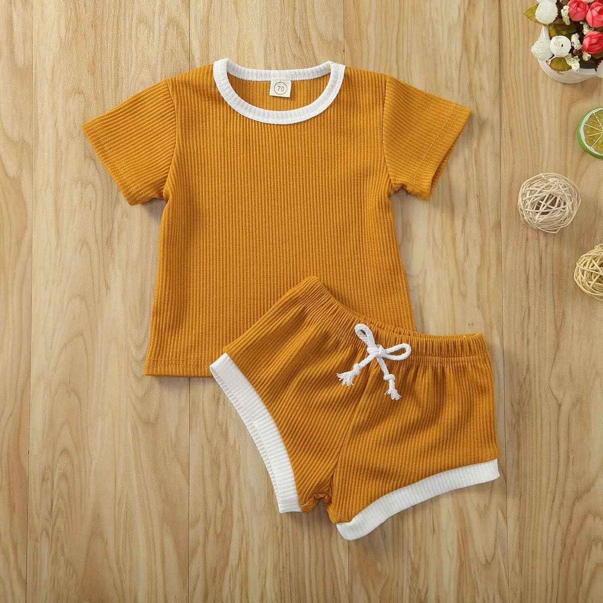 Toddler Baby Boys Girls Summer Clothing Ribbed Knitted Short Sleeve T-Shirts+Shorts Tracksuits Sets
