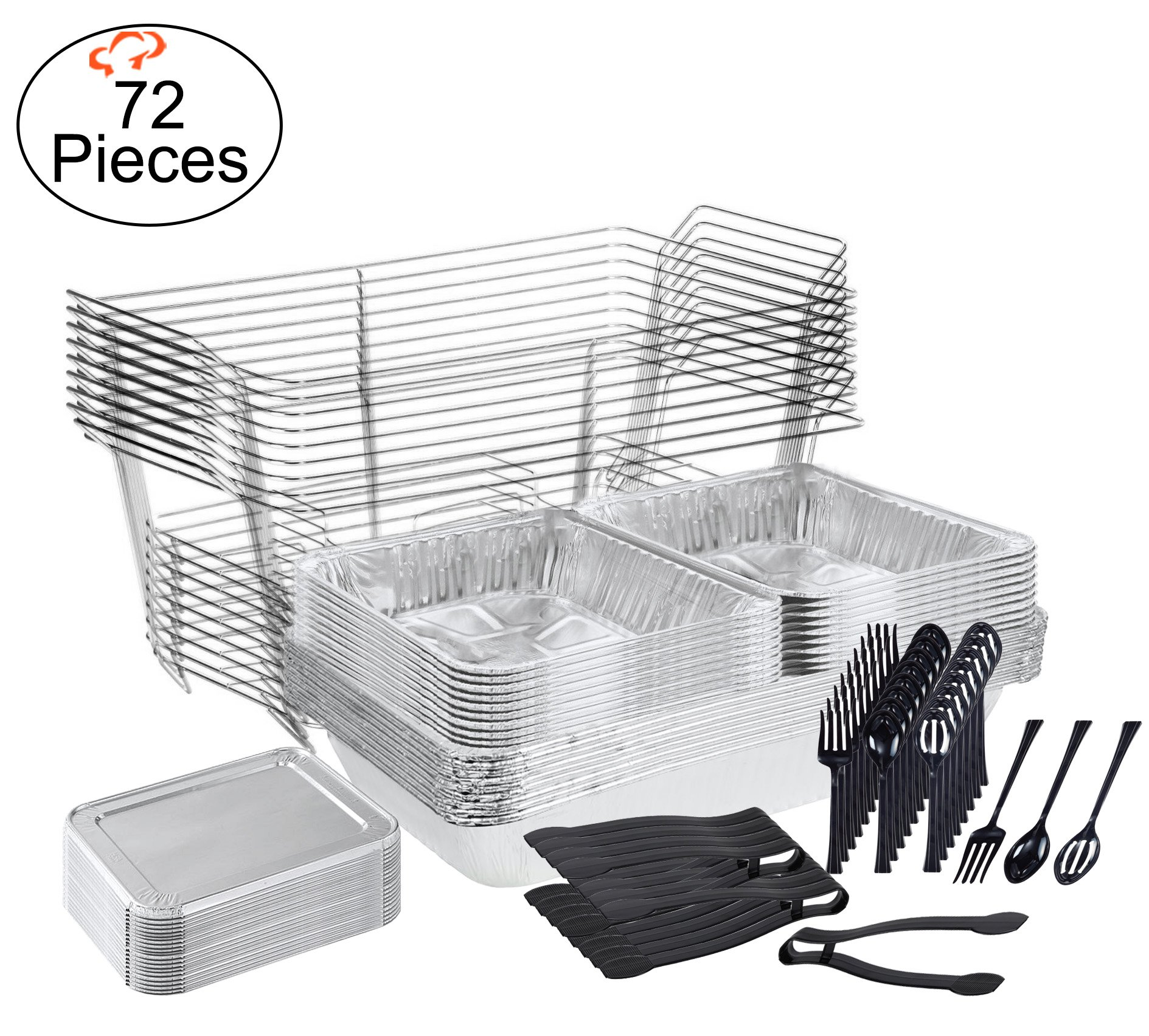 TigerChef 0026-CATERSET Catering Set Serving Dishes for Parties Includes Chafer Pans Set and Disposable Serving Utensils, Spoons and Tongs, Complete Party Serving Supplies (Pack of 72) by Tiger Chef
