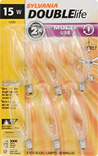 SYLVANIA Home Lighting 15318 Incandescent Bulb, B10-15W, Double Life, Clear Finish