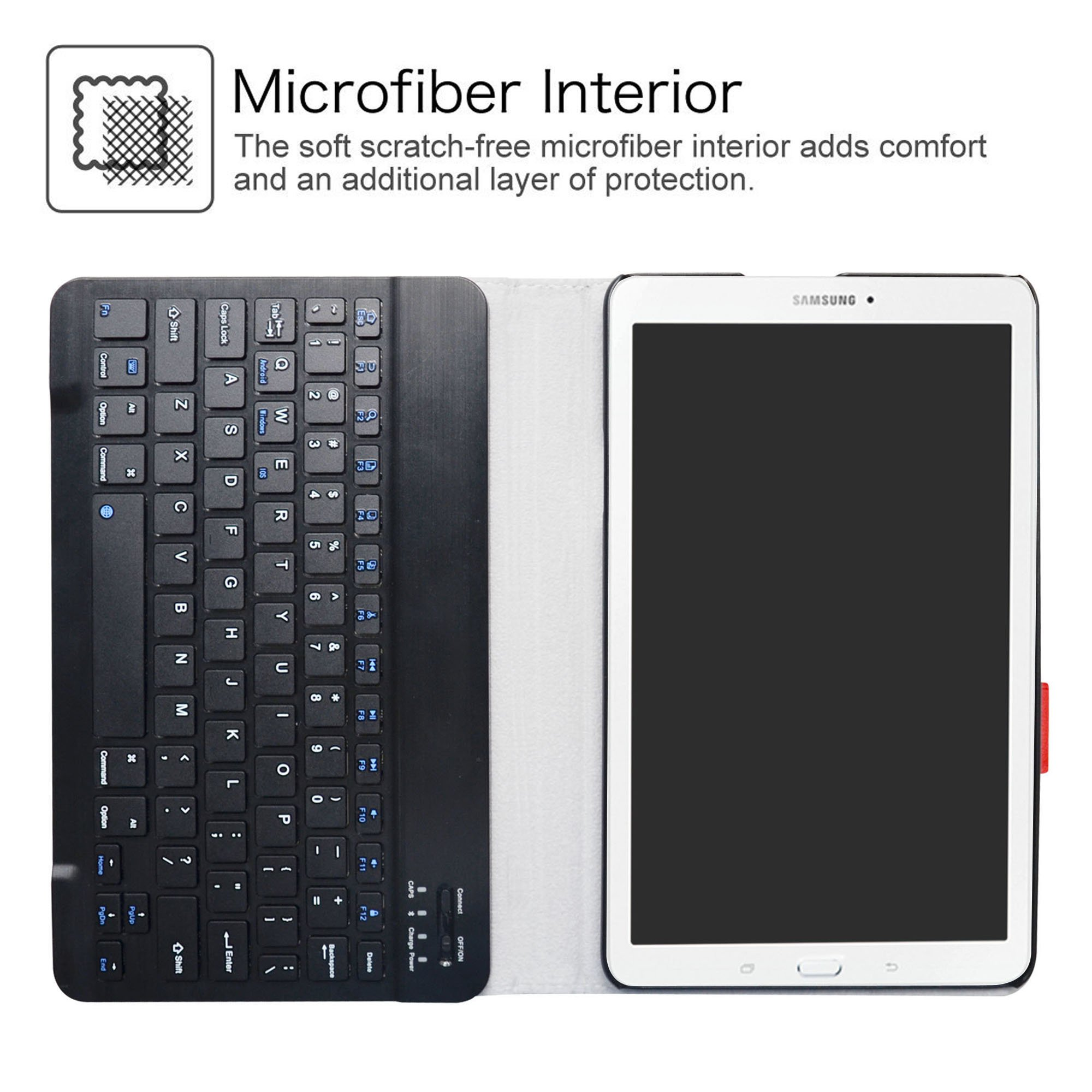 Samsung Galaxy Tab E 9.6 Bluetooth Keyboard Case,LiuShan Detachable Wireless Bluetooth Keyboard Standing PU Leather Cover for 9.6'' Samsung Galaxy Tab E 9.6 T560 Android Tablet,Black by LiuShan (Image #4)