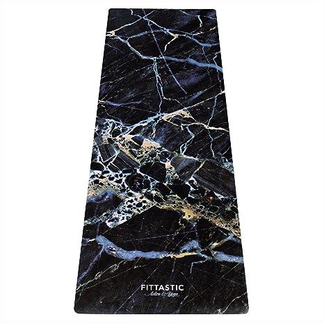 fittastic Premium All-in-One Yoga Matte Black Marble antideslizante, toalla/Matte. Designed para una mejor sujeción al sudor. materiales ecológicos. ...