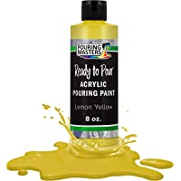 Pouring Masters Lemon Yellow Acrylic Ready to Pour Pouring Paint – Premium 8-Ounce Pre-Mixed Water-Based - for Canvas…