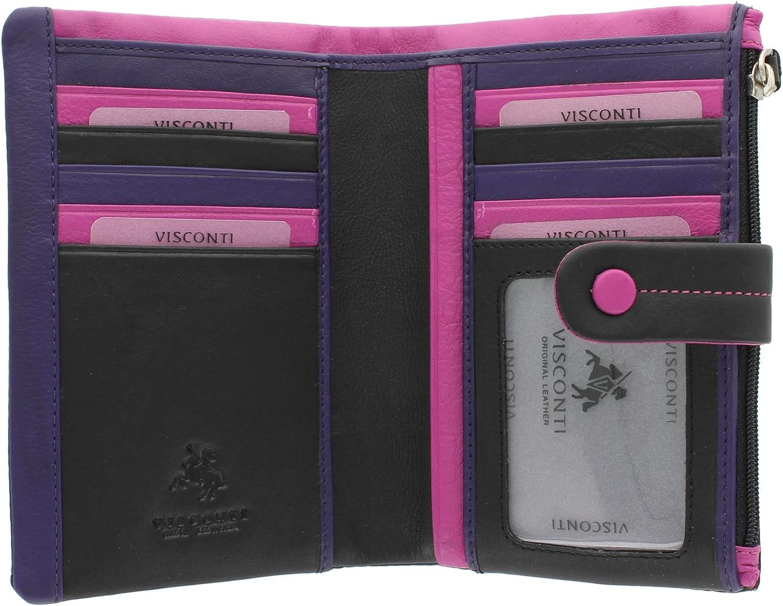 Visconti Colección Mimi MALIBU Monedero de Cuero Multicolor M87 Negro/Rosa/Púrpura