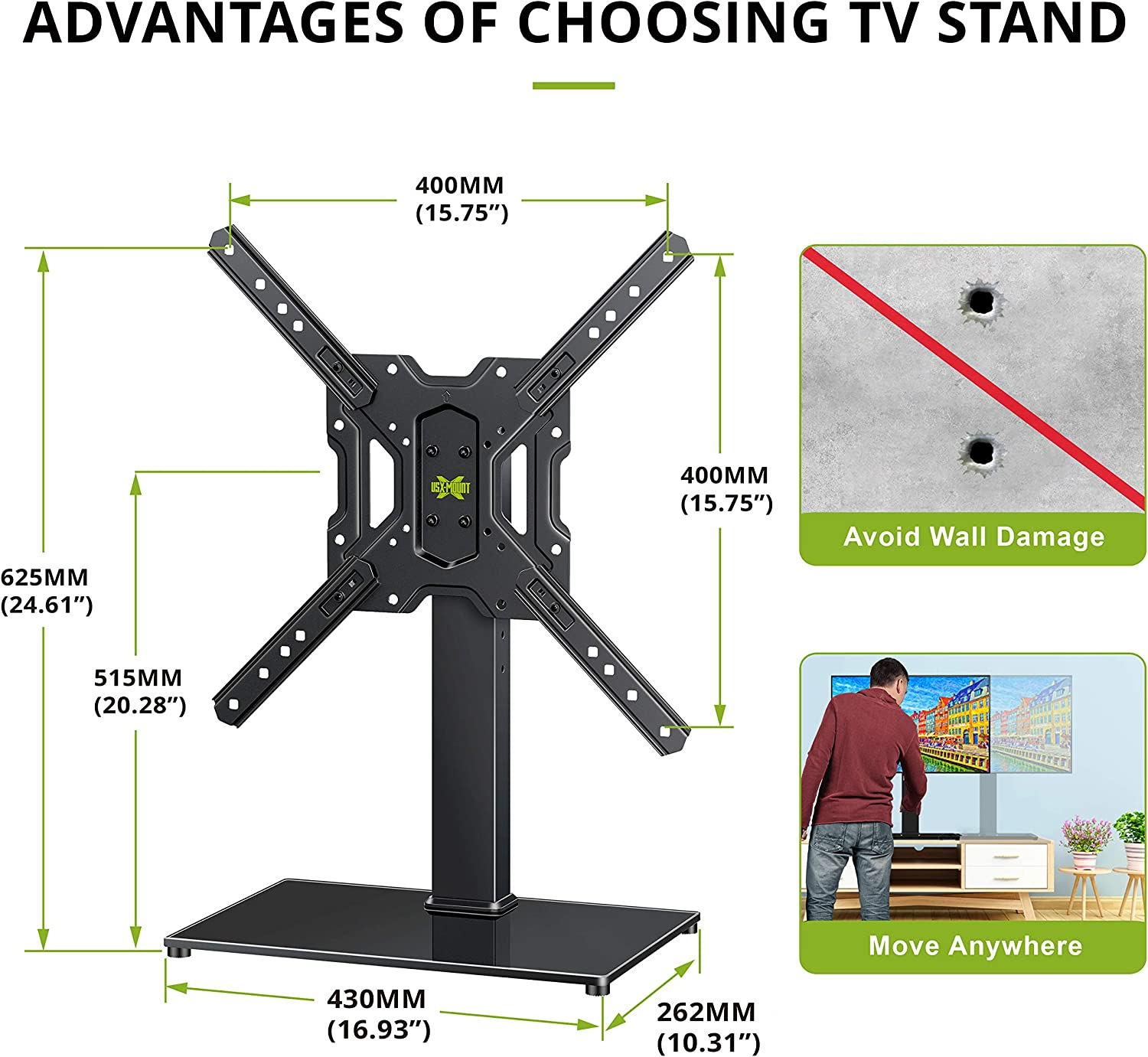 VESA 400x400mm Height Adjustable Tabletop TV Base//Stand Mount with Tempered Glass Base /& Cable Management USX MOUNT Universal Swivel TV Stand for 26-55 Inch LCD LED Flat Screen TVs