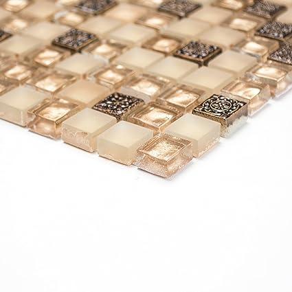 Piastrelle mosaico per bagno o cucina, in misto vetro, pietra e ...
