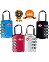 TSA Approved Luggage Locks 4 Digit Combination theft Protection on Our Durable Heavy Duty Travel Baggage Lock, Padlock and Suitcase Lock (Multi color 4 Pack) ¡