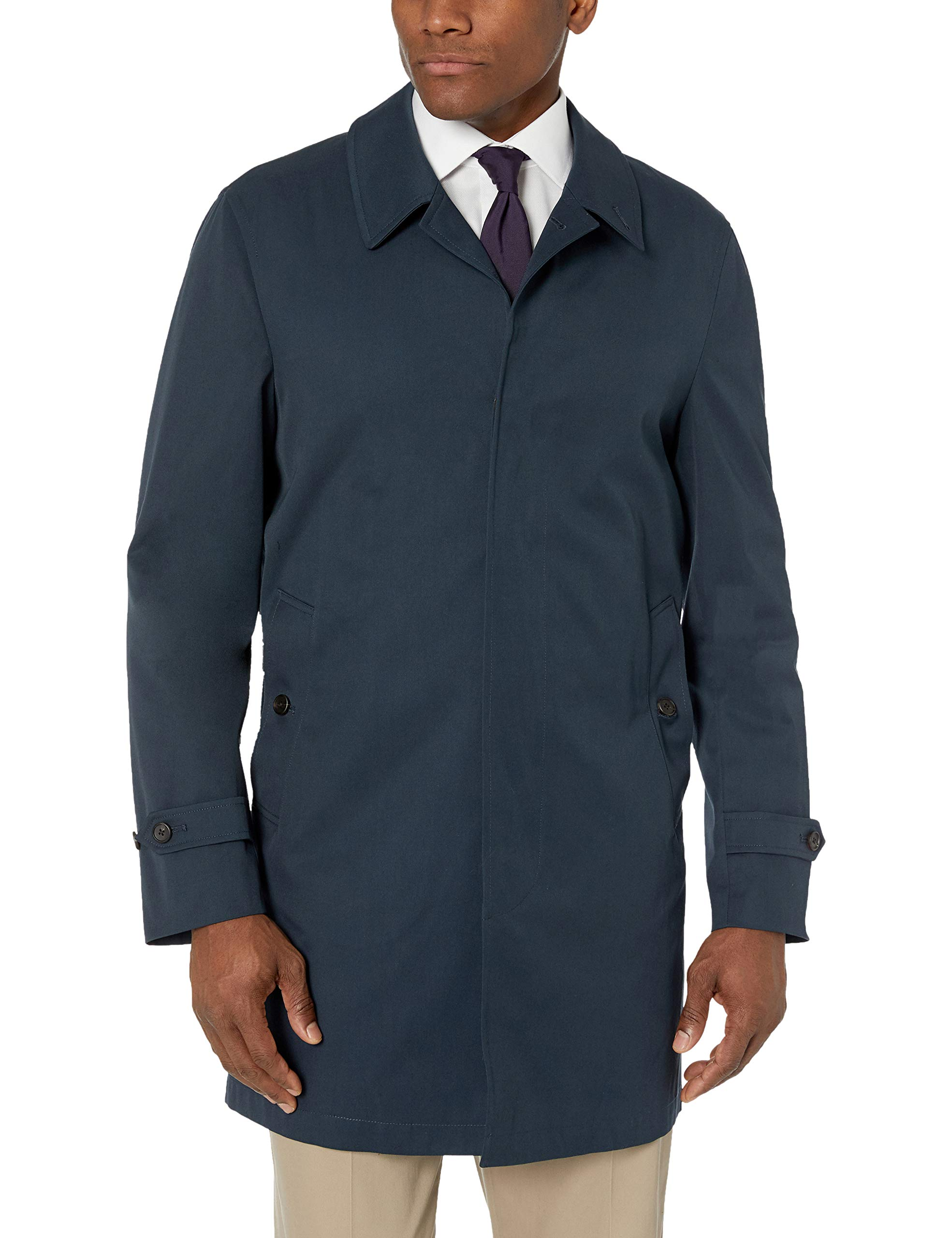 BUTTONED DOWN Men's Water-Repellant Cotton-Blend Car Coat, Navy, 40 Regular by Buttoned Down