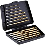 Amazon Basics High Speed Steel Drill Bit Set - Titanium Finish, 13-Piece