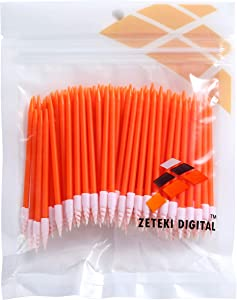 Zetek Spiral 100pcs Foam Tip Cleaning Swabs Sponge Stick for Inkjet Printer, Printhead, Camera, Cleanroom, Optical Lens, Gun, Automotive Detailing, Optical Equipment … …
